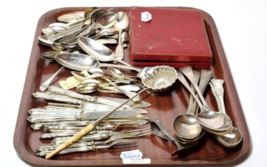 A quantity of George II and later silver flatware, including:...