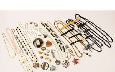 A quantity of lady's vintage costume jewellery and accessori...