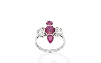A ruby and diamond plaque ring,