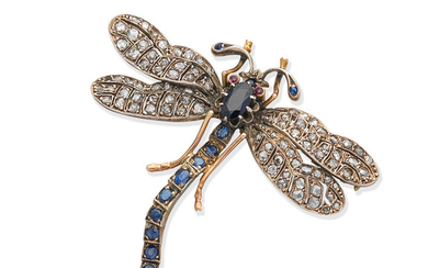A sapphire and diamond dragonfly brooch