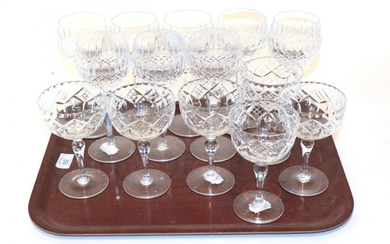 A set of eight Waterford stemmed glasses; with a set...