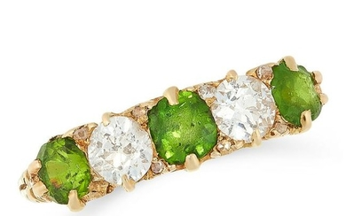 AN ANTIQUE DEMANTOID GARNET AND DIAMOND RING in high