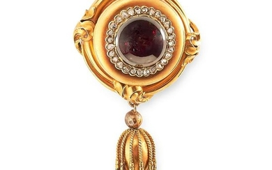 ANTIQUE GARNET AND DIAMOND TASSEL BROOCH set with a