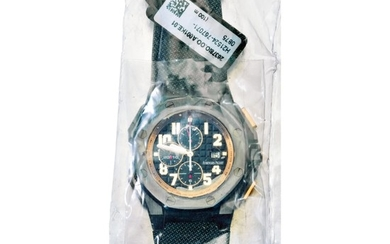 AUDEMARS PIGUET | REF 26378 ROYAL OAK OFFSHORE ARNOLD SCHWARZENEGGER THE LEGACY CHRONOGRAPH, A LIMITED EDITION TITANIUM CERAMIC AND PINK GOLD AUTOMATIC CHRONOGRAPH WRISTWATCH WITH DATE FACTORY SEALED, CIRCA 2010 | 愛彼 | 26378型號「ROYAL OAK OFFSHORE ARNOLD...