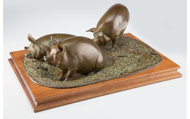 An Andre Harvey Pigs! Cast Bronze Sculpture on Wooden Stand (1990)