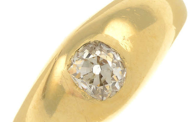 An early 20th century 18ct gold old-cut diamond single-stone ring.
