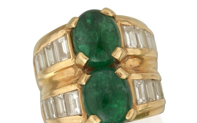 An eighteen karat gold, emerald, and diamond ring twin...
