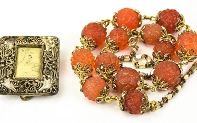 Antique Chinese Carved Carnelian & Bone Necklace