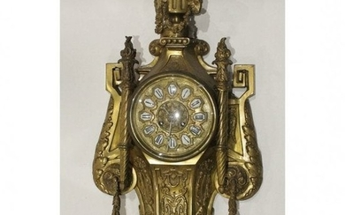 Antique Ornate Bronze French Cartel Wall Clock