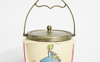 Applique Idyll' a Clarice Cliff Bizarre biscuit box...