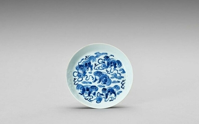 BLUE AND WHITE PORCELAIN DISH WITH PEKINGESE DOGS