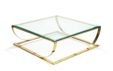 BRONZE AND GLASS MODERN DESIGN COFFEE TABLE