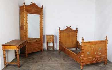Bamboo bedroom furniture with polychrome painted decoration of birds and flowers comprising