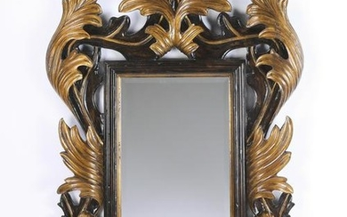 "Baroque style parcel gilt carved mirror, 60""h"