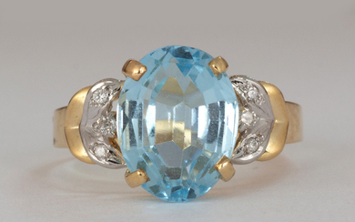 Blue topaz, diamond, 14k yellow gold ring