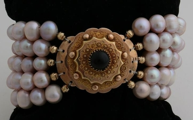 Bracelet with 5 rows of freshwater pearls, ø 7 /