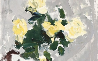Børge Bokkenheuser: Still life with yellow flowers. Signed BB. Oil on canvas. 64×54 cm.