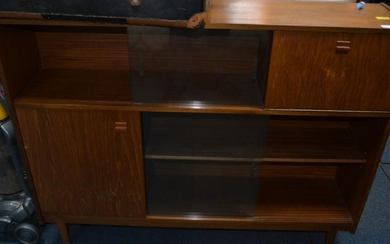 C1960's floor bookcase with sliding glass doors 4ft length a...