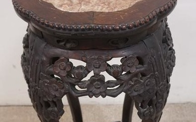 CARVED ASIAN STAND INSET ROUND MARBLE TOP