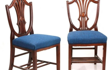 CARVED MAHOGANY DINING CHAIR PAIR FROM B&O RR DINING