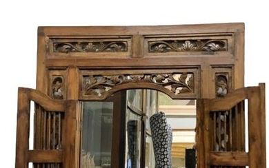 """CARVED WOOD COLONIAL MIRROR WITH SHUTTER DOORS 35"""""""