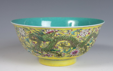 CHINESE FAMILLE JAUNE PORCELAIN BOWL WITH FAMILLE ROSE FLORAL AND...