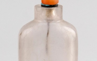 "CHINESE ROCK CRYSTAL SNUFF BOTTLE In rectangular form. Height 3.25"". Replacement hardstone stopper."