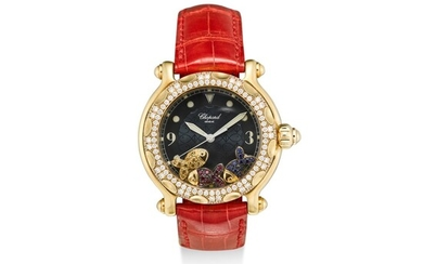 CHOPARD | HAPPY SPORT, REFERENCE 28/3529 A YELLOW GOLD, DIAMOND AND MULTI GEM-SET WRISTWATCH WITH DATE, CIRCA 2005