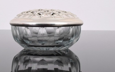 Camusso Crystal Candy Dish with Sterling Silver Lattice Lid