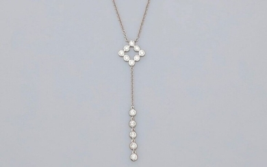 Chain centered with a nice motif in white gold, 750 MM, underlined with diamonds, length 44 cm, 50 x 11 mm, weight: 2.65gr. rough.