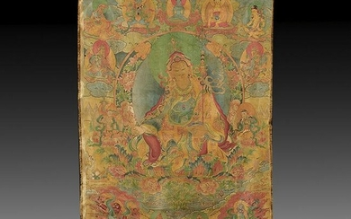 Chinese Embroidered Silk Tibetan Thangka