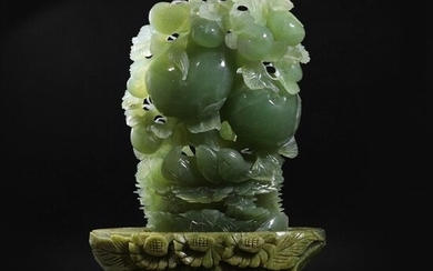 Chinese Green Jade Carved Sculpture Birds and Fruit