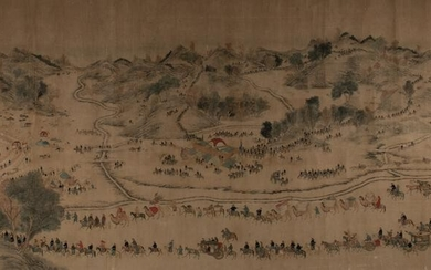 Chinese Painting of a Parade attributed to Jiao