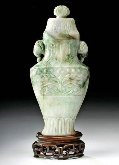 Chinese Qing Jade Lidded Vase on Carved Wood Stand