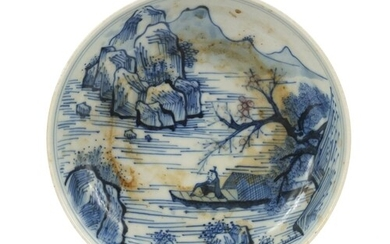 Chinese blue and white porcelain shallow dish hand painted w...