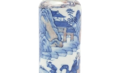 Chinese blue and white with iron red porcelain snuff bottle ...