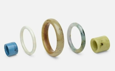 Chinese, jade bangles and archer's rings