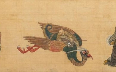 Chinese school, ink and colour on silk, 19/20th C.: 'Immortals and their servants'