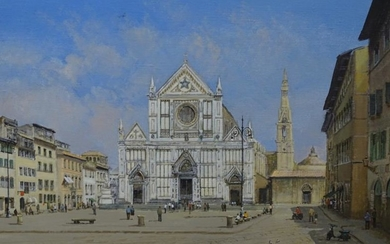 Clive Madgwick (20thC). Piazza St, Croce, Florence, oil on...