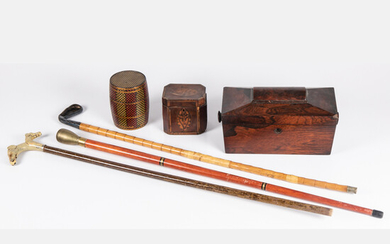 Collection of English Decorative Items, Including a Regency Rosewood Tea Caddy