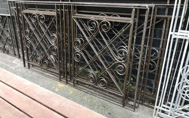 Collection of Wrought Iron Window Grills (H:94cm L:231cm)