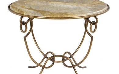 Contemporary Steel and Marble-Top Gueridon
