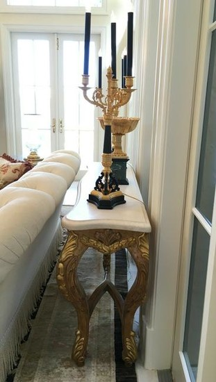 Continental Marble Top Giltwood Console Table