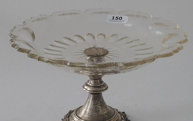 Crystal with Dutch silver tazza, second amount, h. 14 cm, diam. 23 cm, chips, appr. 160 grams