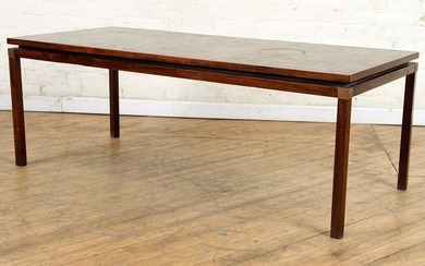DANISH STYLE ROSEWOOD COPPER COFFEE TABLE C.1960