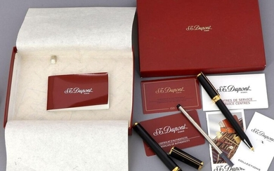 DUPONT - Black Chinese lacquer and gold metal set including an 18K gold fountain pen and rollerball (a refill and various documents of the brand are included)