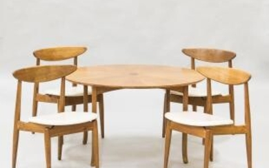 Danish Modern Teak Dining Table and a Set of Four Chairs