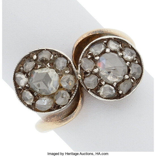 Diamond, Silver-Topped Gold Ring The ring features rose-cut diamonds,...