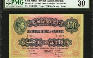 EAST AFRICA. British Administration. 100 Shillings, 1943-51. P-31b. PMG Very Fine 30.