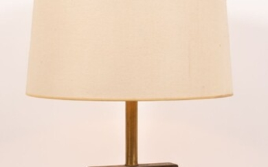 "ELECTRIC METER AND PINE TABLE LAMP H 31"" W 7.5"" D 7.5"""